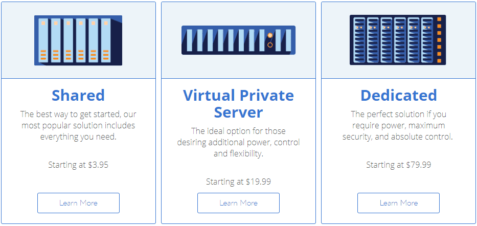 Bluehost Hosting types