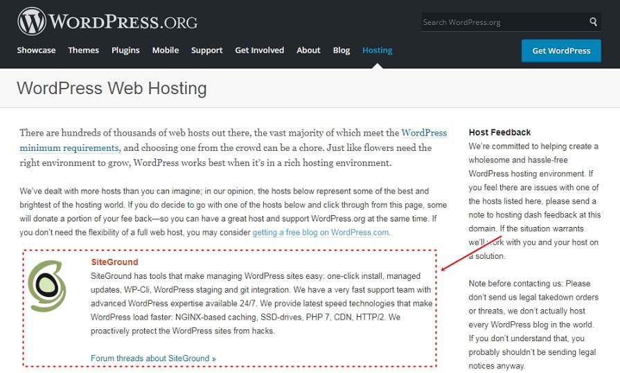 WordPress recommend Hosting Siteground